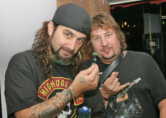 "Mike Portnoy and my friend Taylor who got the coveted ""beard""!!"